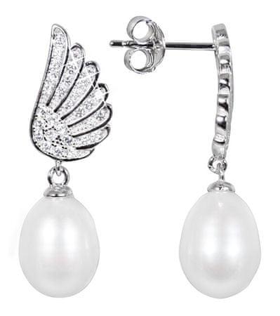 JwL Luxury Pearls Gyöngyfülbevaló, fehér valódi gyöngy és zircon JL0534 ezüst 925/1000
