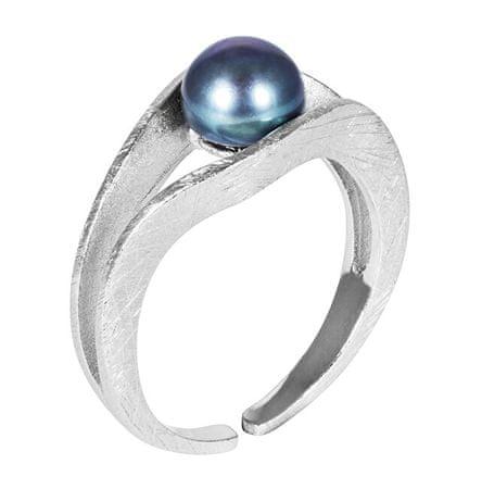JwL Luxury Pearls Srebrny pierścionek z niebieską perłą JL0541 srebro 925/1000