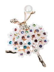 JwL Luxury Pearls Originální brož 2v1 Baletka s květovanou sukní JL0521
