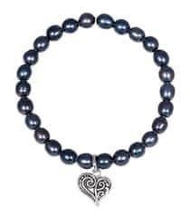 JwL Luxury Pearls Biserna zapestnica s kovinskim srcem JL0525