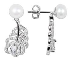 JwL Luxury Pearls Gyöngy gyöngy fülbevaló fehér jobb gyöngy és cirkóniák JL0536 ezüst 925/1000