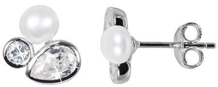 JwL Luxury Pearls Błyszczące Kolczyki z perłą i kryształami JL0545 srebro 925/1000