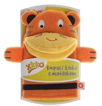XKKO Mosdókesztyű kesztyűbábbal Tigris - narancssárga