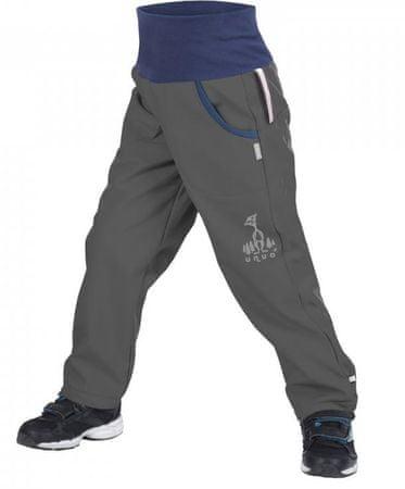 Unuo chlapecké softshellové kalhoty s fleecem 104 - 110 šedá