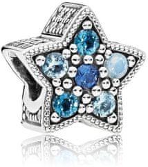 Pandora Hviezdny korálik s modrými kamienkami 796379NSBMX striebro 925/1000