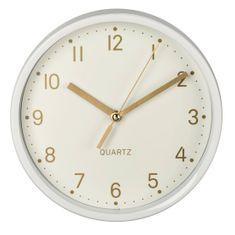 HAMA Złoty, zegar stołowy, cichy bieg, biały