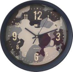 DUE ESSE Nástěnné hodiny Art Home maskovací vzor 28 cm, modré