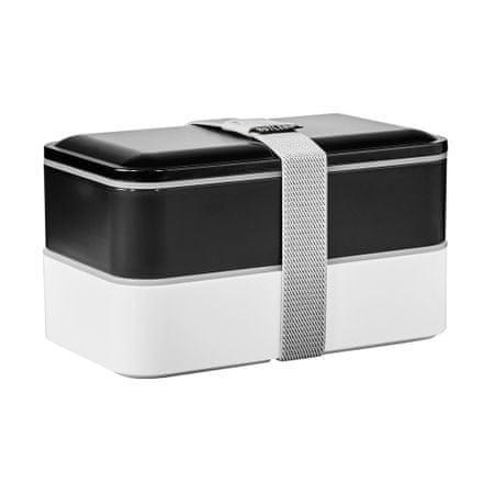 Butlers Svačinový box včetně příboru - černá/bílá
