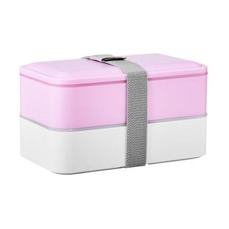 Butlers Svačinový box včetně příboru - sv. růžová/bílá