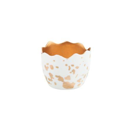 Butlers Svícen na čajovou svíčku vejce - bílá/zlatá