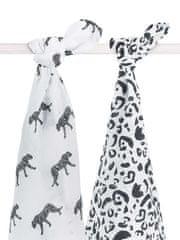 Jollein Osuška bavlněná 115x115 Leopard Black White 2 ks