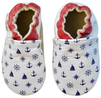 Rose et Chocolate detské topánočky s námorníckym motívom 18,5 biela