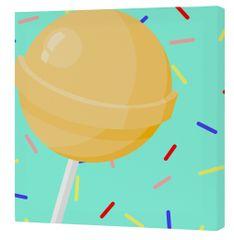 mr.Fox Nástenný obraz Candy house - žlté lízatko, 27x27 cm