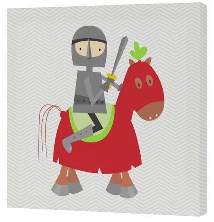 mr.Fox Nástenný obraz Knight - rytier na červenom koni, 27x27 cm