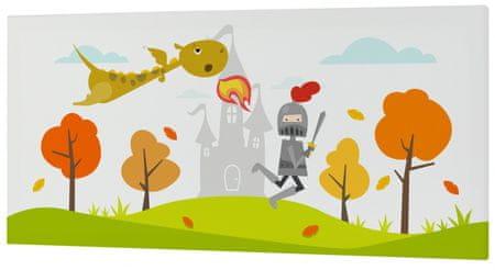 mr.Fox Nástenný obraz Knight - rytier s drakom, 27x54 cm