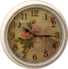 DUE ESSE Nástenné retro hodiny s kvetmi žltá ruža pohľadnica 30,5 cm