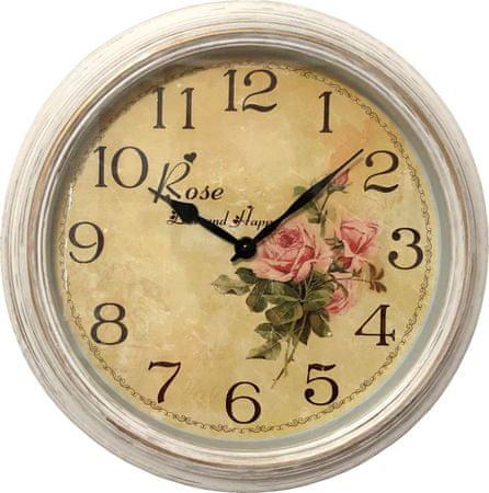 DUE ESSE Nástenné retro hodiny s kvetmi ružová ruža 30,5 cm