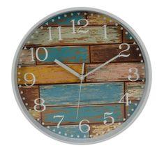 DUE ESSE Nástěnné hodiny cihly efekt dřevo oprýskaný modrý lak Ø 30 cm