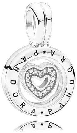 Pandora Obesek za odpiranje s srčnim elementom 792144EN srebro 925/1000