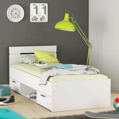 IDEA nábytek Multifunkční postel 90x200 MICHIGAN perleťově bílá