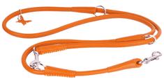 Wau Dog Prepínacie okrúhle kožené vodítko oranžovej farby 122, 145, 183cm
