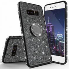 Silikonski ovitek Ring za Huawei P Smart 2019, črn z bleščicami
