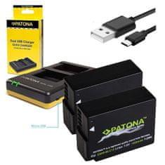 PATONA Nabíječka Foto Dual Panasonic DMW-BLC12 + 2× baterie 1000 mAh USB, PT1949B