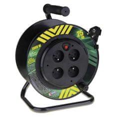 Emos PVC kabel na bubnu s pevným středem – 4 zásuvky, 25 m, 1,5 mm2