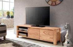 Bruxxi TV stolík so zásuvkou, dverami a policou Boha, 140 cm, masív agát