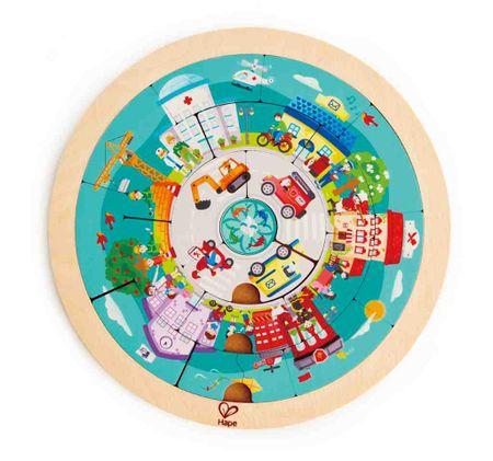Hape okrogle dvostranske puzzle, mesto