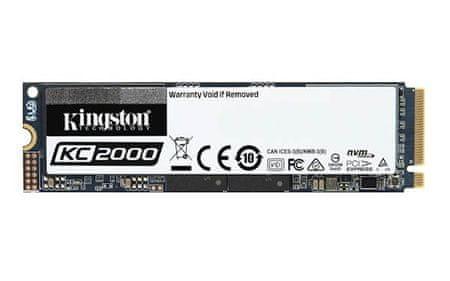 Kingston SSD disk KC2000, 250GB, M.2, PCIe NVMe, 3000/1100MB/s, PCIe Gen3 x4, 3D TLC NAND