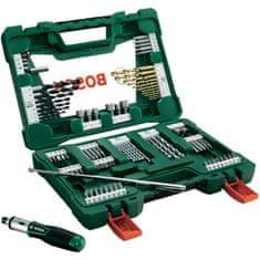Bosch zestaw wierteł TiN i końcówek wkręcających V-line 91 elementów, z wkrętarką grzechotkową i prętem magnetycznym (2 607 017 195)