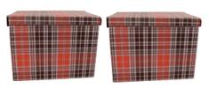 DUE ESSE Súprava 2ks skladovacích úložných krabíc 42 x 32 x 32 cm, škótske kocky