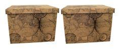 DUE ESSE Súprava 2 ks skladovacích úložných krabíc 42 x 32 x 32 cm, mapa sveta