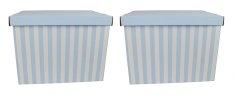 DUE ESSE Súprava 2 ks skladovacích úložných krabíc 42 x 32 x 32 cm, modré prúžky