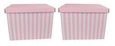 DUE ESSE Set 2ks skladovacích úložných krabíc 42 x 32 x 32 cm, ružové prúžky