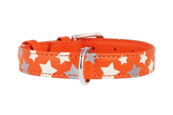 Wau Dog Plochý kožený obojok s hviezdičkami oranžový svietiaci
