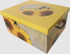 DUE ESSE Skladovacia úložná krabica Fantázia, 50 × 40 × 25 cm, slnečnica