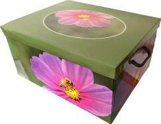 DUE ESSE Skladovací úložná krabice Fantazie, 50 × 40 × 25 cm, růžový květ