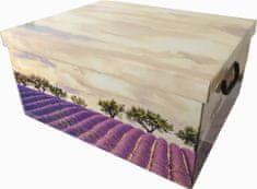 DUE ESSE Skladovací úložná krabice Fantazie, 50 × 40 × 25 cm, levandule