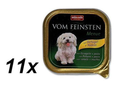 Animonda Vom Feinsten Menue Kutyakonzerv, szárnyas és tészta, 11 x 150 g