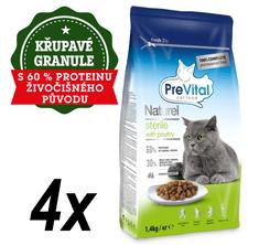 PreVital Naturel granulátum ivartalanított macskák számára baromfi 4 x 1,4 kg