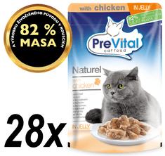 PreVital hrana za odrasle mačke Naturel, piščanec v želeju, 28 x 85 g