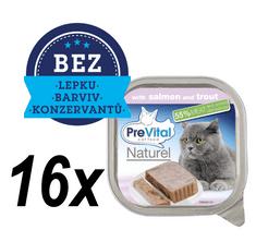 PreVital Premium hrana za mačke, z lososom in postrvjo, 16 x 100 g