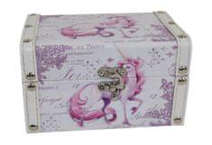 DUE ESSE Krabička z MDF Jednorožec 16x11x9,5 cm, fialová