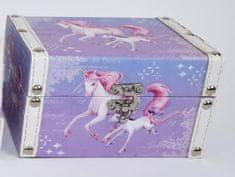 DUE ESSE Krabička z MDF Jednorožec 16x11x9,5 cm, modrofialová