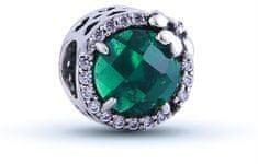 Infinity Love Srebrna kulka z zielonym kryształem HSZ-1094-GD srebro 925/1000