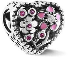 Infinity Love Romantyczny Srebrny koralik w kształcie serca HSZ-1156-D srebro 925/1000