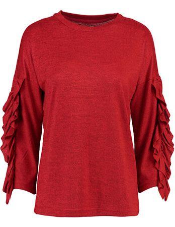 ONLY Női pulóver Spring Ida 3/4 fodros Pulóver KNT Flame Scarlet (méret S)