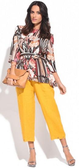 100% Lin dámské kalhoty 36 žlutá
